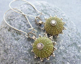 Sea Urchin Earrings - Special Green Earrings