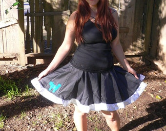 Shy Blue Kitty Circle Skirt