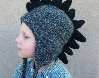Dragon Hat in Charcoal - Halloween Costume, Crochet Dinosaur, Black Dragon, Halloween Costume, Gift For Him
