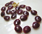 Outstanding Natural Ruby Faceted Precious Gemstone Linked Necklace, 14kg fill...
