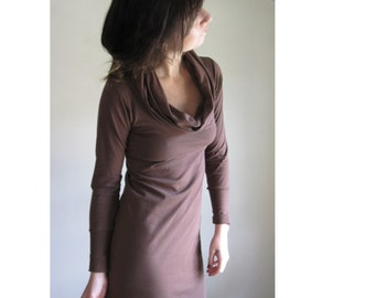Organic Cotton Dress, Long Sleeve Cowl, Womens Clothing, Brown Jersey, Custom Made