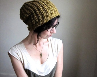 Turmeric Wool Ribbed Hat - Hand Knit - Mustard Yellow - Winter Snow Hat - Slouchy Beanie