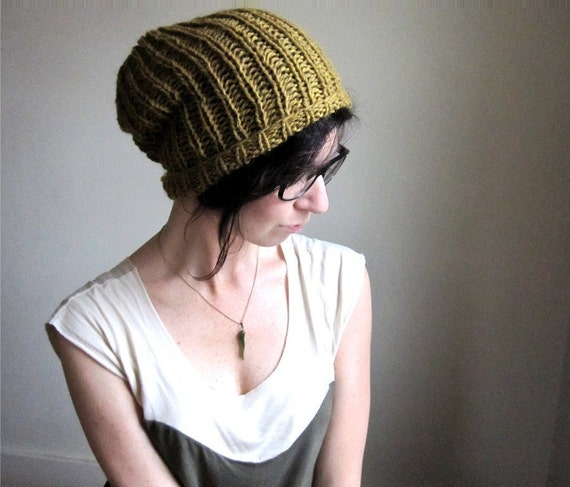 RESERVED for Ashley - Turmeric Wool Hat - Hand Knit