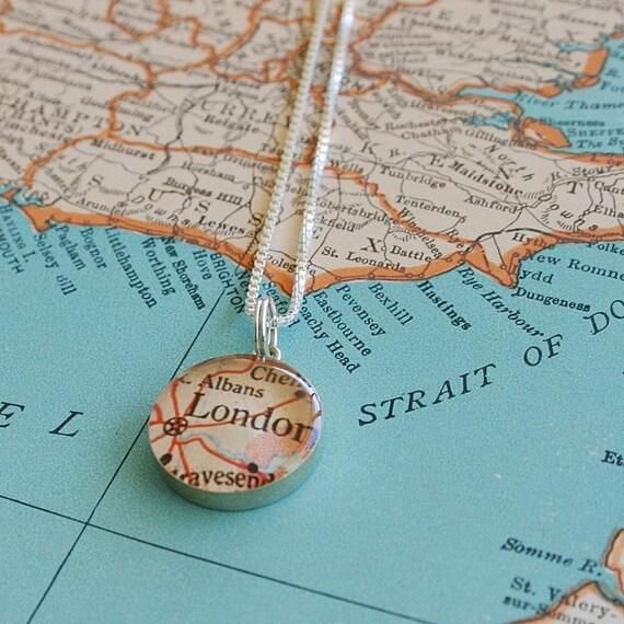 London - Sterling Keepsake Map Charm Necklace