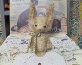 Primitive Bunny E Pattern vintage style Mini Mohair  Woodland Rabbit