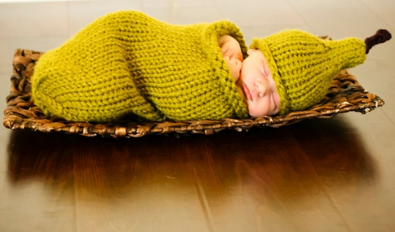 Perfect Pear Cocoon and Newborn Hat knitting PATTERN - PDF format - NEW