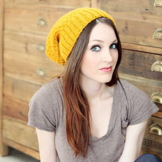 Boho Chic Slouch Beanie knitting PATTERN 2 years to adult- PDF format - NEW