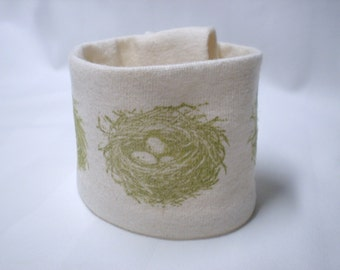 Wrist cuff wallet - Nesting Instincts - Made from a recycled t-shirt