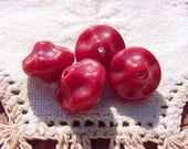 Merlot Red Pinched Saucers Vintage Glass Beads
