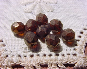 Aged Brass Facets Vintage Glass Beads
