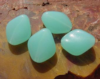 Aqua Opal Glow Freeform Diamond Vintage Lucite Beads