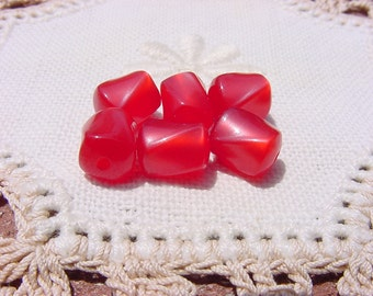 Sour Cherry Red Moonglow Twists Vintage Lucite Beads