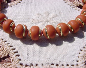 Milk Chocolate Golden Etched Snails Vintage Lucite Beads