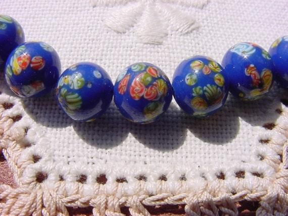 Deep Royal Blue Millefiori Vintage Japanese Glass Beads