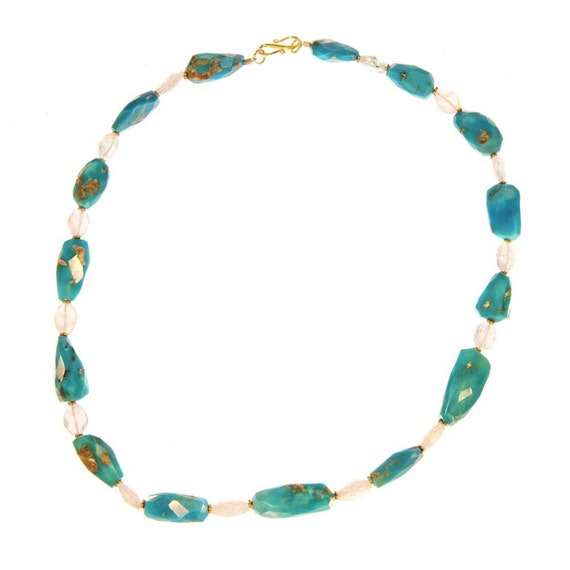 16.75 in. Sleeping Beauty Turquoise, Acquamarine and 18k gold necklace