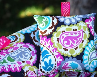 Shopping Cart Cover for Girls - Roco Beat Paisley with Minky Pillow
