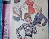 "1970's Blouse Pattern Vintage  McCalls 3150 Bust 40"""