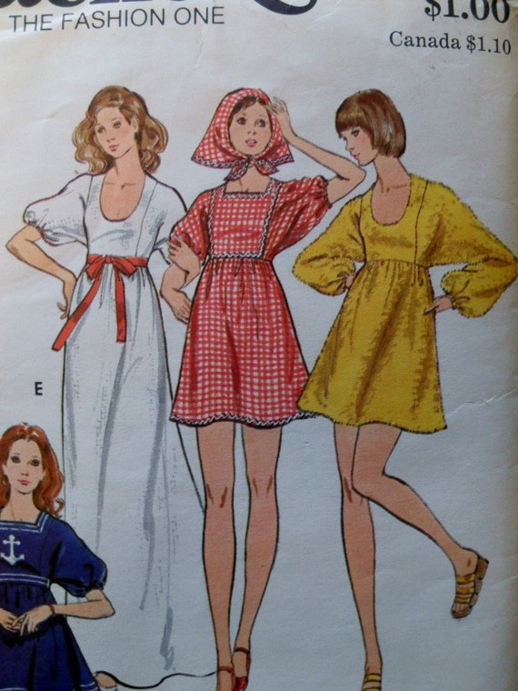 Vintage Butterick 6692 pattern for a Boho dress from the 1970s