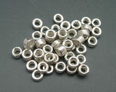 Mykonos Beads 3mm Bright Silver Spacers TINY Tubes Heishi Greek Beads Naos
