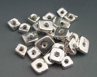 Mykonos Beads Bright Silver Spacers Chips Shards 4-6mm Greek Beads Ceramic Beads Naos