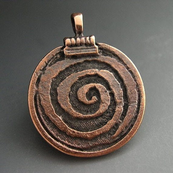 Mykonos Pendant Greek Pendant Bronze Spiral of Life Pendant 30mm Pagan Wicca Wiccan Magick Magic Naos