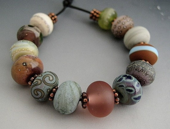 Naos Glass Indian Summer Made To Order Handmade Lampwork Beads SRA Artisan Beads Lilac Sienna Copper Green Blue Peach Olive