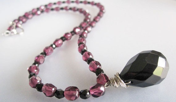 Purple and Black Czech Crystal Necklace Handmade