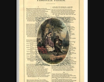 Shakespeare Passionate Pilgrim Lovers Print on Antique Book Page