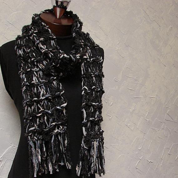 Black Gray Silver Cotton Acrylic Wool and Alpaca Scarf