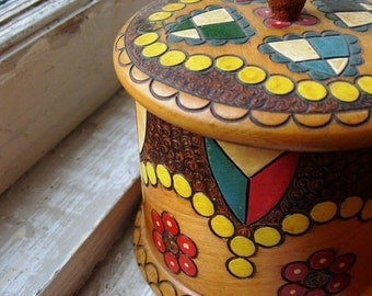 Vintage Wooden Box - Carved and Colorful Design