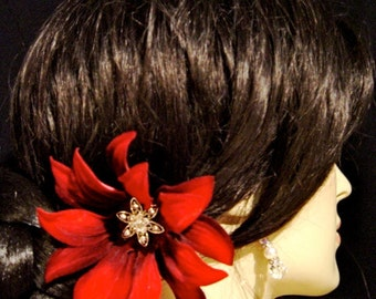 Dark Burgundy Red Velvet and Rhinestone Lotus Flower Hair Pin Bridal Hairpin Brooch Corsage Pin Hair Clip