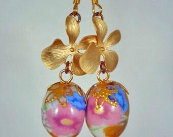 Secret Garden - Vintage Porcelain Beads Gold Flower and Swarovski Crystal Earrings