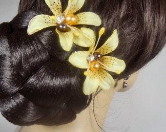 Yellow Bridal Silk Beaded Pearl Tiger Lily Wedding Hair Clip Set