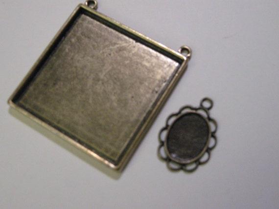 2 Extra Large Blank Pendant Trays -Square Antique Brass/ Bronze- Photo Frame