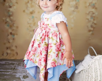 PDF Pattern - Girls Dress Pattern - Handkerchief Hem Dress