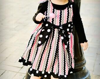 Girls Jumper Dress Pattern with Big Bow Sash - PDF Sewing Pattern