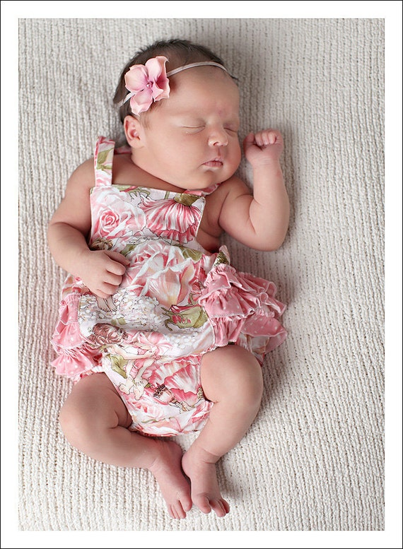 Baby Pattern PDF, Ruffled Baby Romper, Bubble Romper Pattern - newborn - 24 months