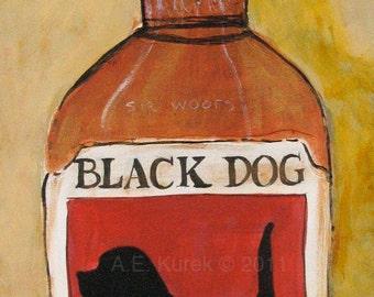 Dog Art - Black Dog Bourbon - Fine Art Print in 8x10 Mat