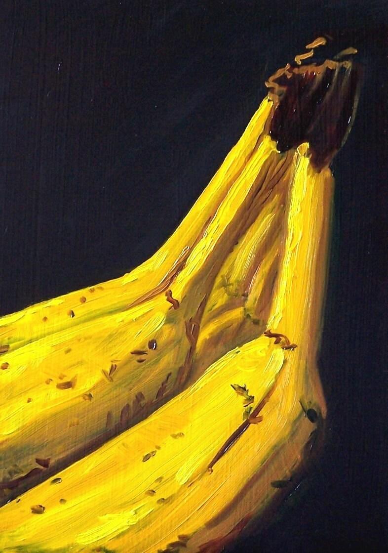 Still life oil painting original banana fruit painting for Peinture mural original