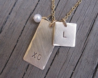 TWO hand stamped 14k gold filled tags necklace