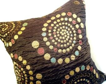 Chocolate Brown Silk Multi colored Dot Pillow Sham