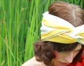 Knit Turban Headband - Yellow and White