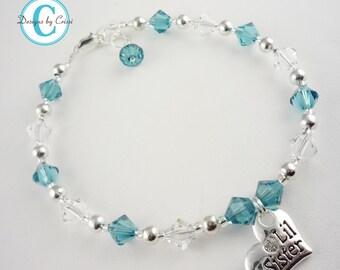 Blue Zircon Big Sister Bracelet, Custom Sister Jewerly, all sizes, Little Sister Bracelet gift for girls baby