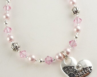 Big Sister Necklace in pink crystals and pearls for the new Big Sister or Little Sister