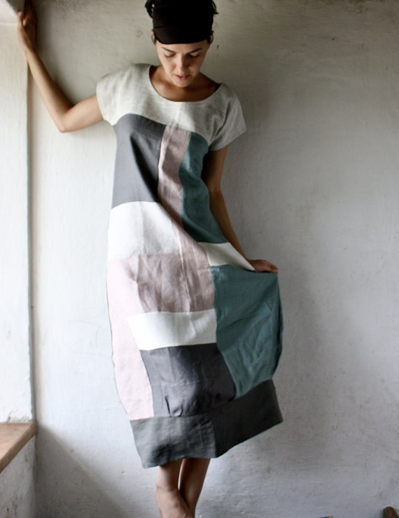 Linen Tunic dress in patchwork linen - grey and white