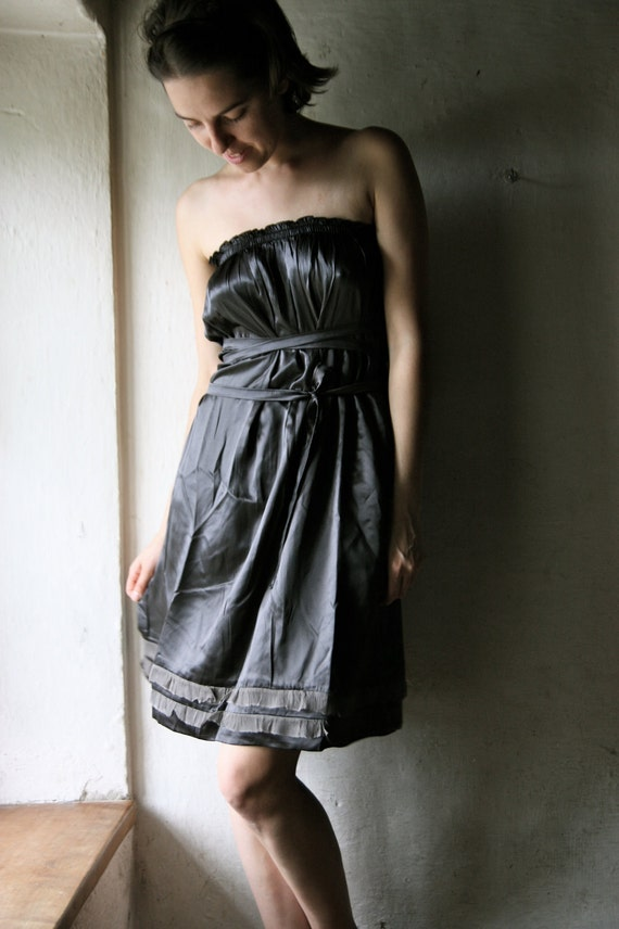 Strapless tunic Dress in grey silk satin