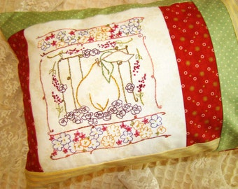 Autumn Pear Hand Embroidery PDF Pattern Pillow Tutorial Instant Digital Download