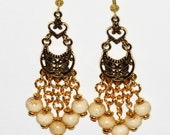 Long Chandelier Beaded Earrings Ivory Color with Antiqued Gold #Free Shipping #Gift