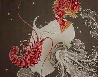 Fish Furoshiki 'Sea Bream and Shrimp' Cotton Japanese Sea Bream Fabric 50cm w/Free Shipping