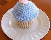 Cupcake Pincushion, Cupcake Pin cushion, Crocheted Cupcake, Cupcake Play Food, Blue Frosting Cupcake